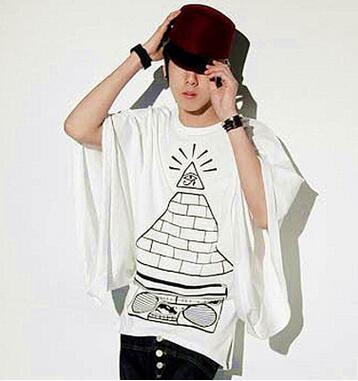XS-3XL!! Le nouveau T-shirt en coton imprimé à manches courtes vêtements pour hommes han édition manteau chauve-souris non traditionnel
