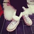 D-bulun Rhinestone de piel de Oveja de lana de nieve de Las Mujeres botas de tobillo de la plataforma de invierno botas de piel de las Señoras de Oro Rosa plana Caliente Australia botas