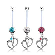 Flexible Navel Piercing Pregnancy Maternity Bar Ring Body Belly Piercing Baby Sole crystal cool design