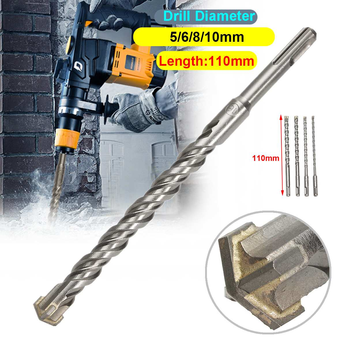 3pcs 600mm SDS Drill Bit Set Masonry Brick Block Concrete Deep Reach 12,16,24mm