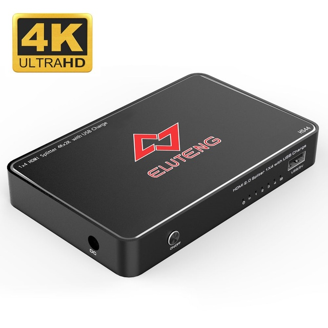 ELUTENG 1x4 HDMI2.0 Switch 4K x 2K HDMI 1 in 4 out Powered Selector Box 4 Port Support USB Charge for PC DVD HDTV PS3 PS4 TV Box