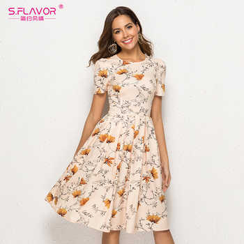 S.FLAVOR Casual Women Dress Slim Vintage O Neck Floral Printed A Line Dress Female Short Sleeve Elegant Party Vestidos - DISCOUNT ITEM  47% OFF All Category