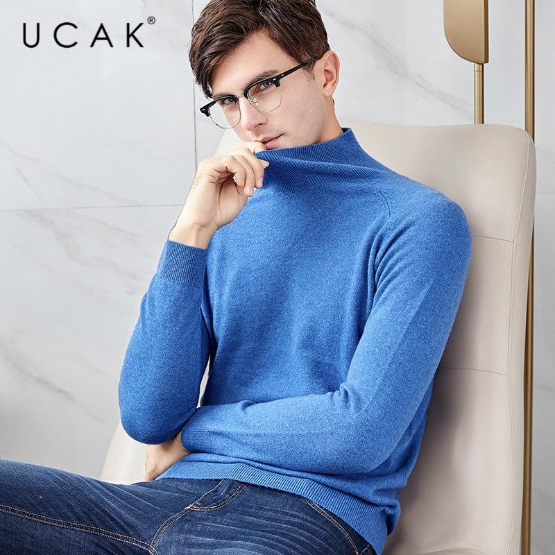 UCAK Brand Sweater Men Autumn Winter Soft Cashmere Sweaters Thick Warm Turtleneck Pull Homme Pure Merino Wool Pullover Men U3012