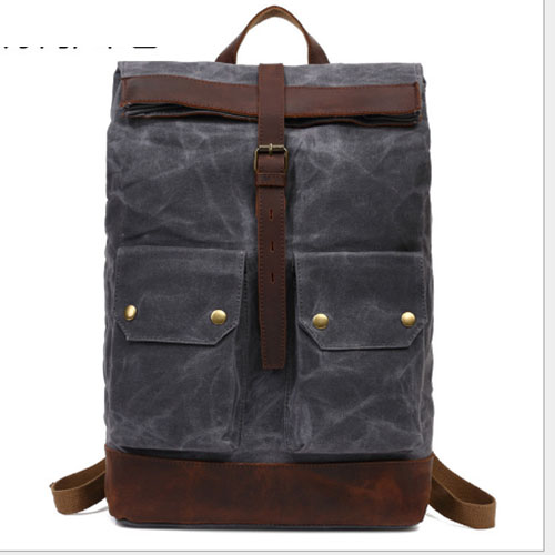 Canvas Vintage Backpack Leather Casual Bookbag Men Rucksack Military Backpack Canvas Bag Trekking Rucksacks black/armygreen цены онлайн
