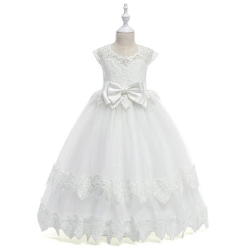 2017 flower girls dresses for wedding high low o neck ball gown sleeveless lace beads ribbon spring pageant kids communion dress 2019 Lace Flower Girl Dresses for Weddings Ball Gown Sash Kids Long Evening Dress Holy Communion Dresses For Girls Pageant Gowns