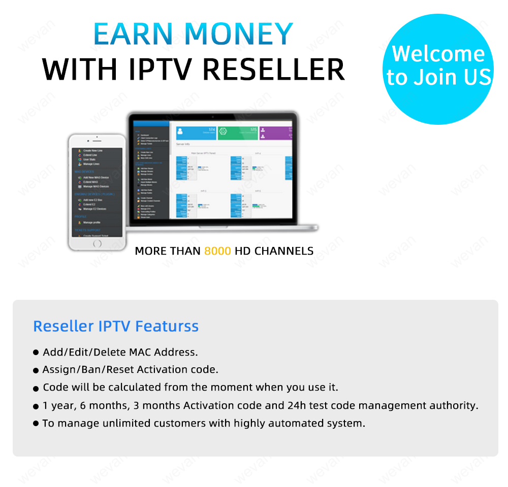 Credits With Control Panel For IPTV Resellers Europe IPTV Germany USA  Canada France Albania Spain Sweden Adult