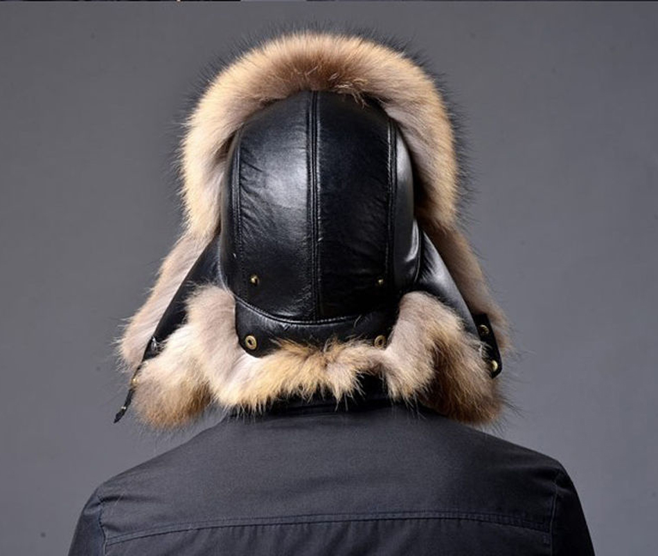 TRUPPER FOX RACCOON FUR FUR HAT LEATHER REAL MES'S Ushanka SHAPKA - Aksesorë veshjesh - Foto 5