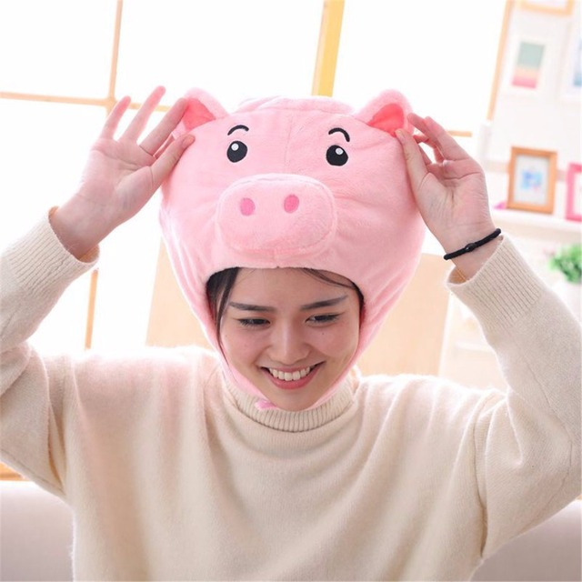 1 pc Engraçado Criativo Porco Cor de Rosa Chapelaria Chapéu Do Bebê Brinquedo de Pelúcia Simulação Kawaii Porco Animal Plsuh Boneca Crianças do Aniversário do Natal presentes