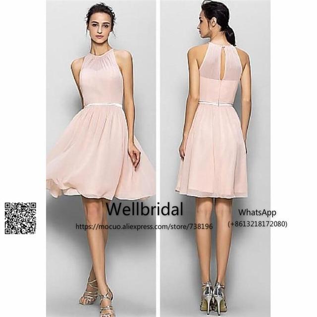 goedkope 2017 blush roze bruidsmeisjekleding korte chiffon bruiloft