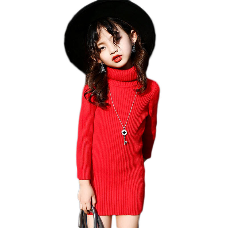 Kids Girls Turtleneck Sweaters Dress Princess Autumn Winter Solid Pullovers Dresses Children Outwear Clothes For 3-15 Years GD78 autumn winter female long wool knitted dresses turtleneck slim lady accept waist package hip pullovers sweater dress for women