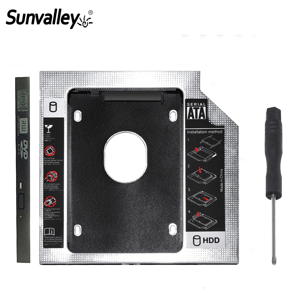 Sunvalley Aluminum Alloy 12.7mm 2nd HDD Caddy SATA To SATA 3.0 For Laptop DVD/CD-ROM Optical Bay 2.5