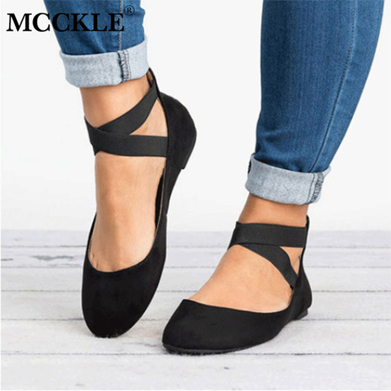 MCCKLE Women Plus Size Casual Ballet Flats Autumn Female Flock Zipper Shallow Elastic Band Flat Shoes Ladies Leisure Footwear mcckle summer casual flats women sneakers plus size cut outs slip on elastic band ladies loafers flock footwear female shoes