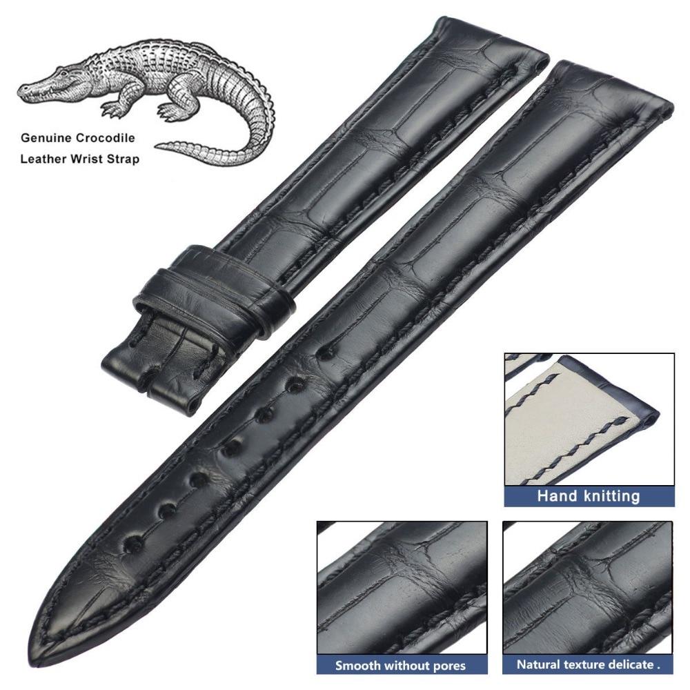 PETSIDUN 100% Genuine Crocodile Leather Watch Band Black Alligator Strap 14mm-24mm a015 south america alligator genuine leather strap 100