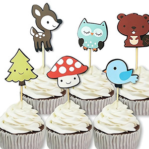 Image 2 - 12pcs Forest Animal Cupcake Topper Fox Owl Birds Happy Birthday Cake Topper For Baby Shower Kids Birthday Party Cake Decorations