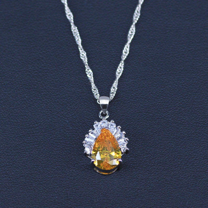 Sparking Yellow Jewelry Sets Water Drop Cubic Zirconia CZ Stone Silver Color Necklace Earrings Necklaces Finger Rings