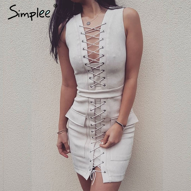 Simplee Sexy lace up suede lether dress Christmas hollow out high waist sleeveless women dress Vintage party club short dress