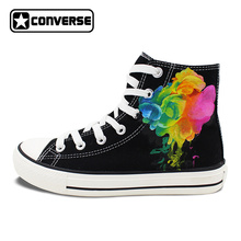 Original Design Hand Painted Shoes Colorful Smoke High Top Converse All Star Canvas Sneakers Men Women