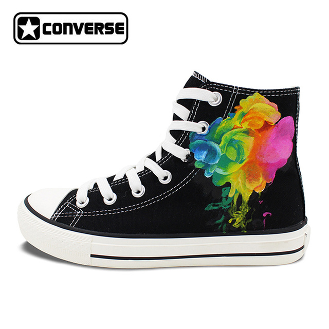 99f468e755b7 Original Design Hand Painted Shoes Colorful Smoke High Top Converse All  Star Canvas Sneakers Men Women