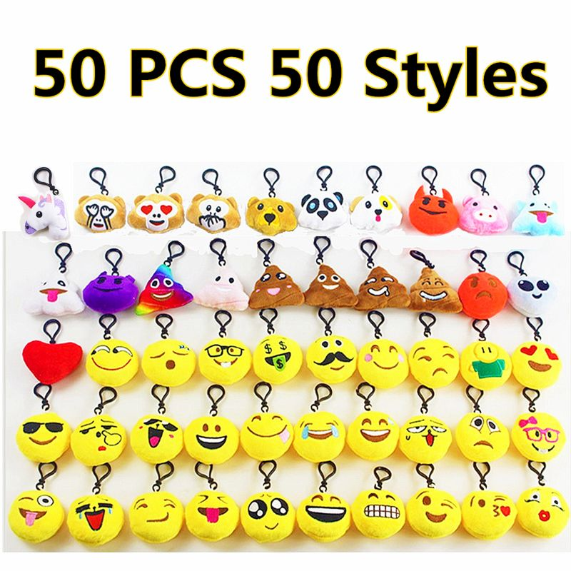 OOTDTY 50 Pack Emoji Plush Pillows Mini Keychain For Birthday Party, Classroom Rewards Prizes Party Favor Bags Easter Egg