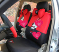 18pcs Cute Mickey & Minnie Mouse Car Seat Cover Four Seasons General Sandwich Auto Seat Covers Sets - Red Black