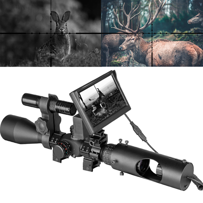 Night Vision scope Riflescope Hunting Scopes Optics Sight Tactical 850nm Infrared LED IR With 5 inch Monitor|Riflescopes|   - AliExpress