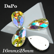 60pcs/box 16x25mm Teardrop Sew On Rhinestone Crystal Clear AB Color High-grade For clothing accessories SF0404