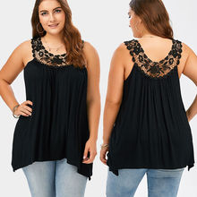 New Fashion 2017 Women Ladies Sleeveless Lace Tops T-shirts Summer Casual Solid Black Loose T-shirts Plus Size