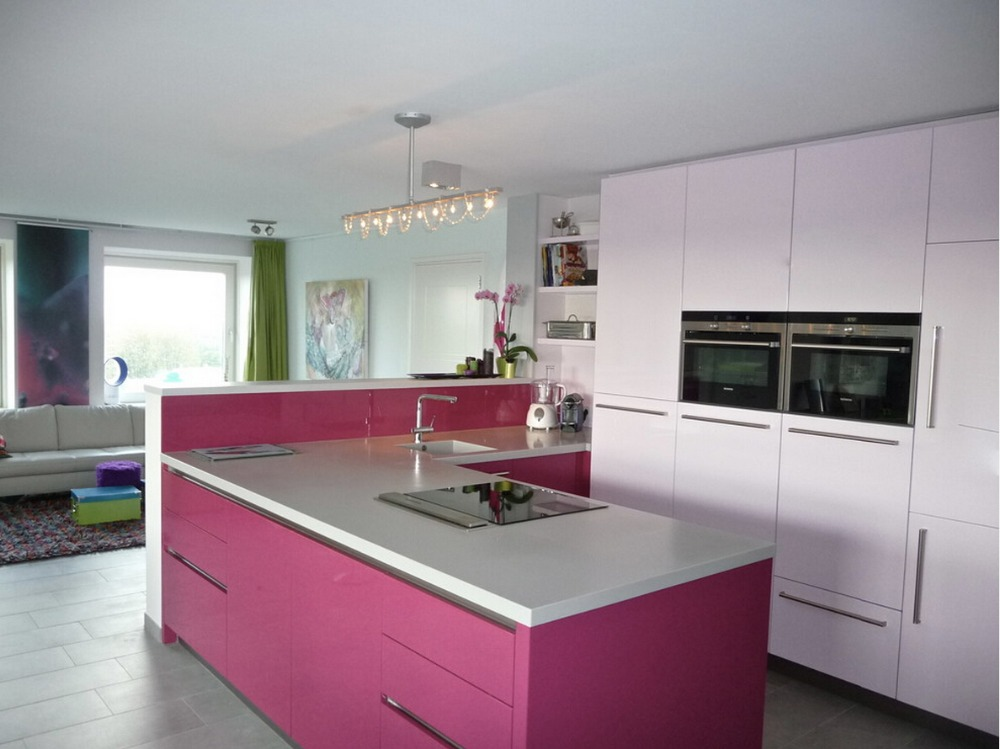 2017 new design design high gloss lacquer kitchen cabinets red color ...