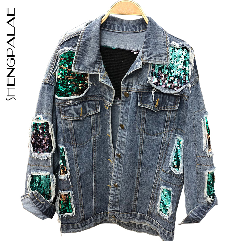 SHENGPALAE   Jacket   Women Casual Vintage Women Coat   Basic     Jackets   Autumn Long Sleeve   Basic   Coats Fashion Holes Denim   Jacket   FI070