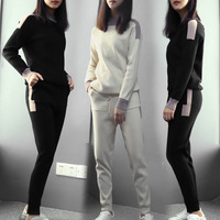 women's suits winter wool fashion new Home clothing cashmere knit warm Set crew neck sweater + slacks Pants two piece set