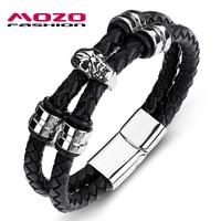 MOZO FASHION Men Bracelet Black Double Circle Leather Skeleton Stainless Steel Magnet Buckle Bracelet Man Skull