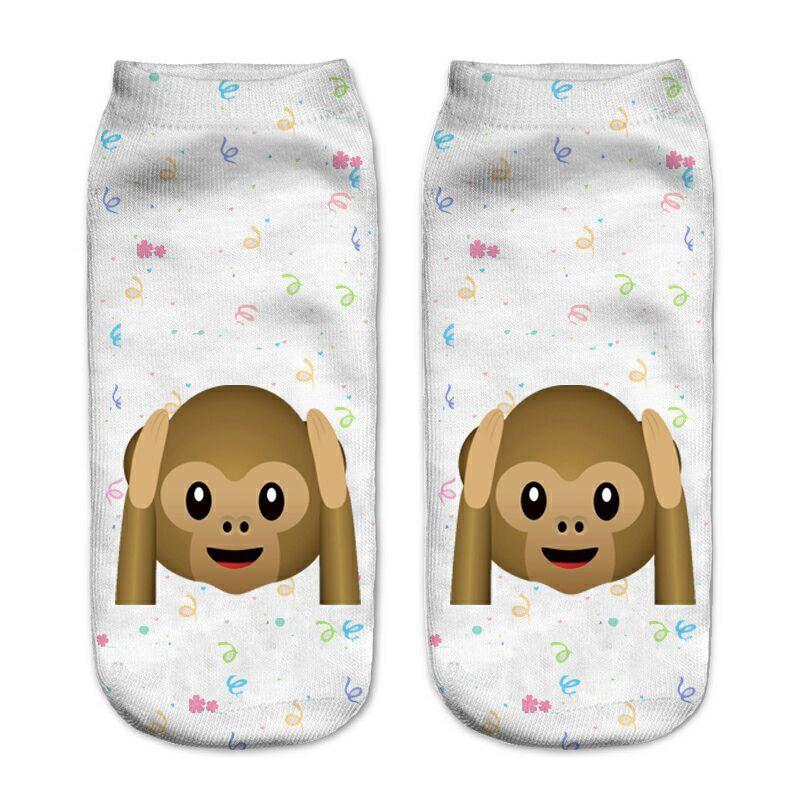 Funny Emoji Monkey 3D Printed   Sock   Women Low Cut Ankle   Socks   Calcetines Hosiery Meias White Casual   Sock