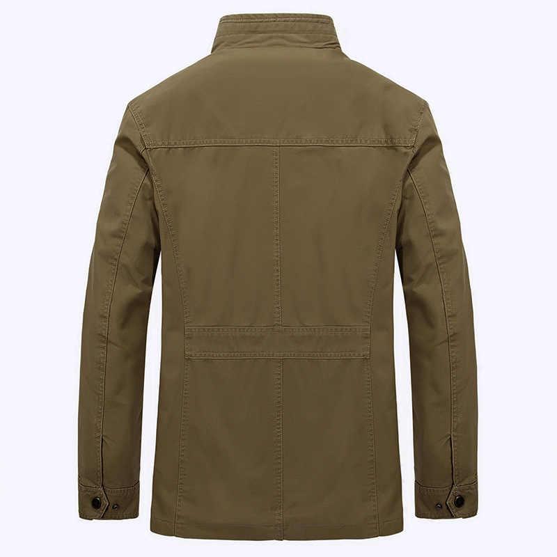 Marka Artı Boyutu 7XL 8XL Askeri Ceket Erkek Sonbahar Kış Pamuk Yüksek Kaliteli Dış Giyim Ordu Orta-uzun Palto Erkek jaqueta masculina