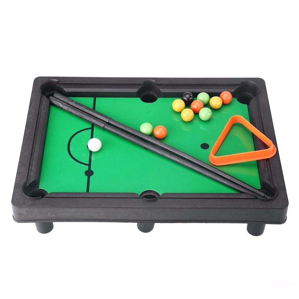 Peradix New 16pcs/set Mini Tabletop Pool Table Snooker Billiards Simulation  Toys Easy To Assemble Creative Gift For Baby Kids