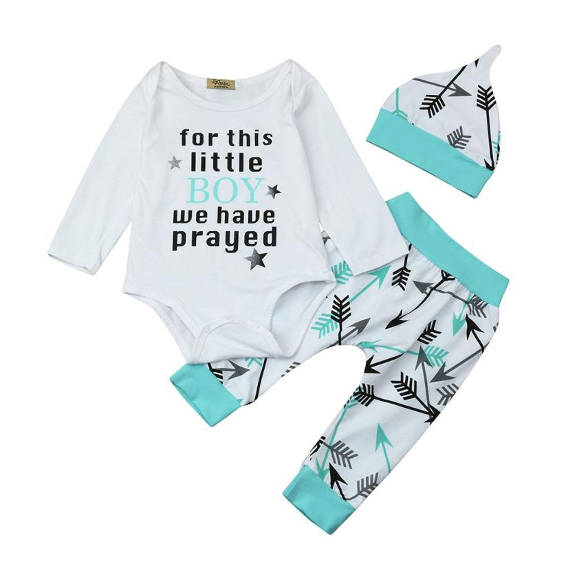 Fashion baby clothes 3Pcs Infant Baby Boys Letter Print Tops+Pants+Hat Outfits Set Clothes For this little Boy we have prayed