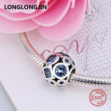 Luxury Silver Charms 925 Sterling Blue CZ Essence Collection Beads Fit Pandora Bracelet Authentic Jewelry Women Christmas Gift