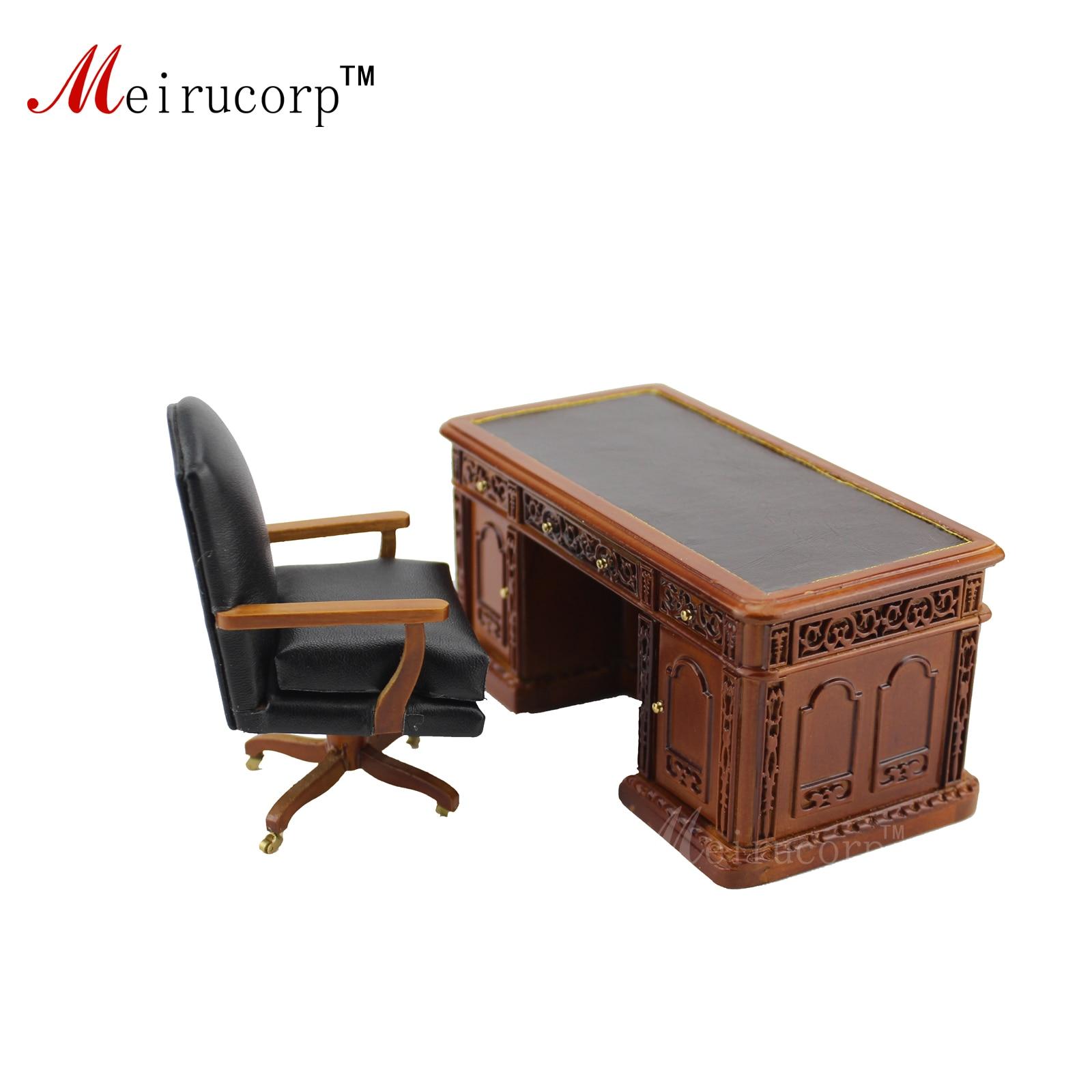 Dollhouse 1:12 échelle Miniature Main sculpture Président de bureau et chaise