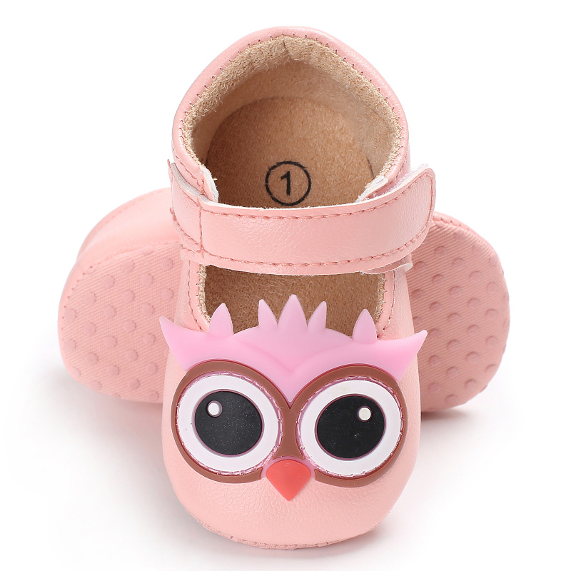 Raise Young PU Leather Cartoon Owl Baby Girl Shoes Cotton Soft Soles Toddler Girl First Walkers Newborn Infant Footwear 0-18M