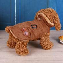 Pet Dog Clothes Warm Winter Puppy Dog Cats Pet Clothes Solid Brown Suede Jacket Coat Brown Suede Jacket Outwear(China)