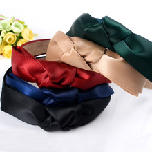 Top Knot Turban Headband  Style Solid Elastic Hairband Hair Accessories No Slip Stay on Knotted Head band Women