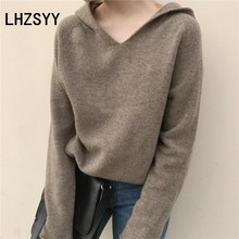 LHZSYY Autumn New Women' Cashmere Sweater Loose Large size Hooded Sweater Knit wild Wool Solid color High Quality Pullover Thick lhzsyy 2019women s spring new large size long solid color wool knit dress loose retro o neck high waist knit wild dress sweater