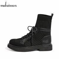 Mabaiwan/Новая модная черная повседневная обувь, эластичные носки, короткие ботильоны, женские кроссовки, женская обувь на плоской подошве на ш