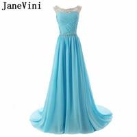 JaneVini Crystal Long Bridesmaid Dresses Sheer Scoop Neck Chiffon Zipper Back Sweep Train Plus Size Party