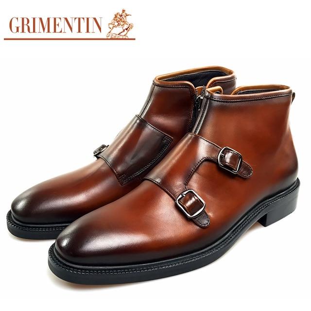 8489f402c GRIMENTIN homens ankle boots de couro genuíno brown Italiano botas  masculinas escritório