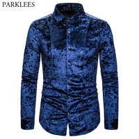 Królewski niebieski aksamit welurowa koszula mężczyzna 2019 jesień nowy slim fit z długim rękawem męskie ubranie koszule Casual w całości zapinana na guziki koszulka Homme