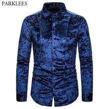 Royal Blue Velvet Velour Shirt Men 2019 Autumn New Slim Fit Long Sleeve Mens Dress Shirts Casual Button Down Chemise Homme