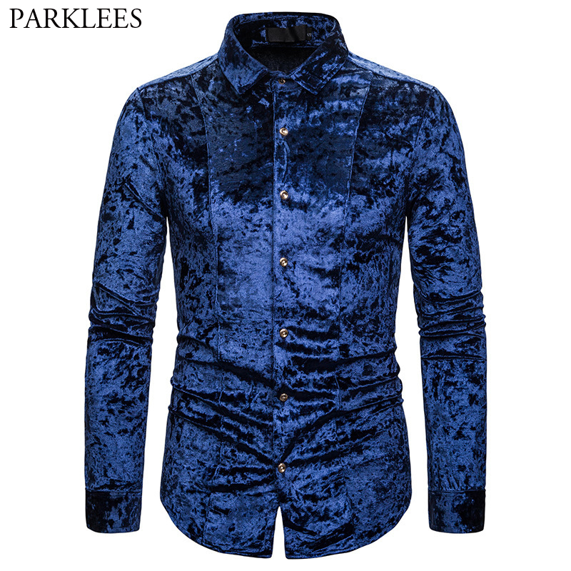 Royal Blue Velvet Velour Shirt Men 2019 Autumn New Slim Fit Long Sleeve Mens Dress Shirts Casual Button Down Chemise Homme