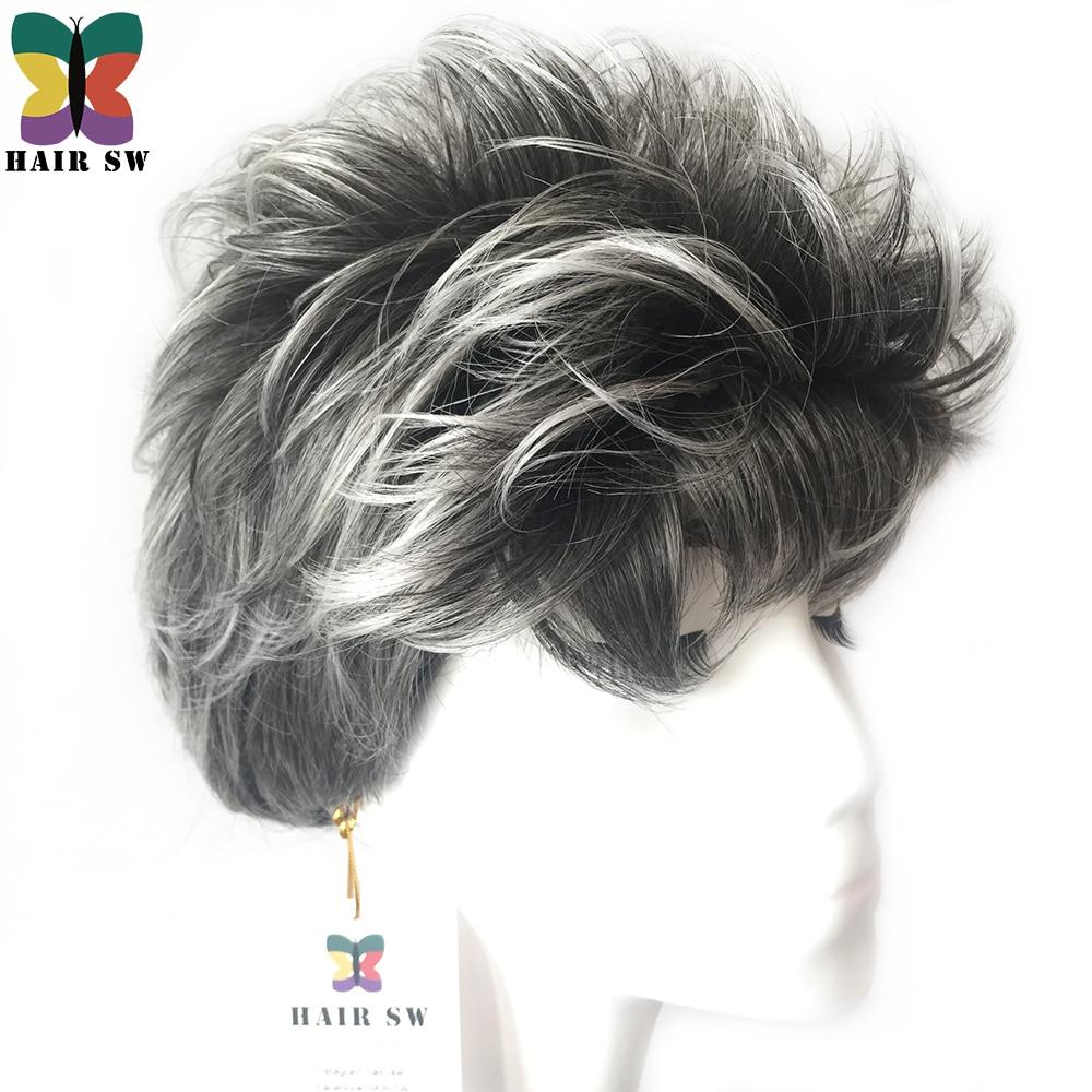 HAIR SW Short Pixie Style Ladies Syntetisk hår Paryk Grå vit skiktad naturligt Fluffig lockig kvinna peruk i över 60 år