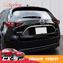 Car Rear Door Trunk Box Trim Stickers Chrome Garnish Strips Cover Decoratiove NEW Styling For Mazda CX-5 CX5 2017 2018 2019 KF wenkai 1pc abs chrome accessories trunk lid cover trim rear garnish for mazda cx5 cx 5 kf series 2017 2018 car styling