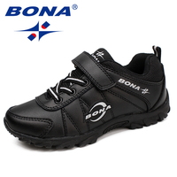 Bona novo estilo clássico crianças sapatos casuais hook & loop meninos sapatos ao ar livre tênis de corrida confortável macio frete grátis